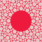 Circle border frame with many repeating different sized spring cherry flowers. Isolated on the red fond, Japan flag imitation, for japan day. Space for Royalty Free Stock Images