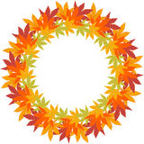 Circle border frame with repeating autumn leaves Stock Photo