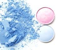 Circle box palette color eye shadow and crushed make up powder. Royalty Free Stock Image