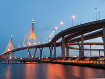 Circle Bridge. Industrial Circle Bridge in Bangkok, Thailand at twilight Royalty Free Stock Photos