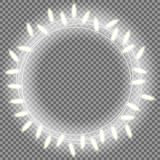 Circle bright garland, festive decorations. Glowing christmas lights isolated on transparent background. Vector. Mock up Royalty Free Stock Photo