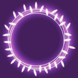 Circle bright garland, festive decorations. Glowing christmas lights isolated on violet background. Vector object. Design element for Holiday cards, New Year Stock Image