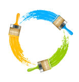 Circle of brushes with paint drawing colors Stock Photo