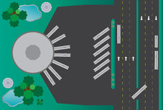 Circle building bus station Landscape Stock Images