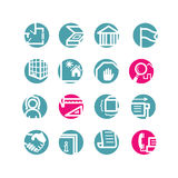 Circle building icons. Blue and pink Royalty Free Stock Photos