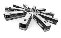 Circle of buses on white background Royalty Free Stock Photo