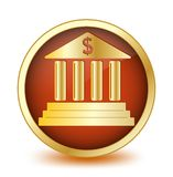 Circle button with symbol of the bank inside Stock Photography
