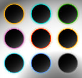 Circle buttons, badges. Button backgrounds with dark blank space Stock Photo