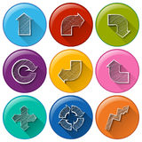 Circle buttons with different arrows Stock Photography