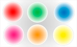 Circle buttons. Glow circle buttons in six colors Stock Image
