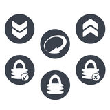 Circle buttons with symbol of arrow and padlock - sign of download, reload, upload and security Images libres de droits