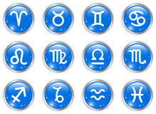 Circle buttons with zodiac signs Stock Photo