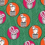 Circle cactus seamless design repeat pattern colorful royalty free illustration