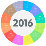 Circle calendar for 2016 year. Colorful vector vector illustration