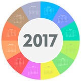 Circle calendar for 2017 year. Colorful vector Royalty Free Stock Image