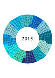 Circle Calendar 2015 year template. Vector illustration of Calendar 2015 year template in form of circle royalty free illustration