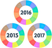 Circle calendar for 2015 2016 2017 years. Colorful vector Stock Photography