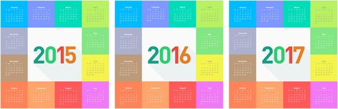 Circle calendar for 2015 2016 2017 years Royalty Free Stock Photo