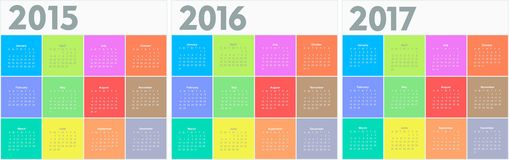 Circle calendar for 2015 2016 2017 years. Colorful vector Stock Photos