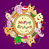 Circle card with cakes and animals. Happy Birthday greeting card on purple background.Round frame with colorful cakes and monsters. Editable vector illustration royalty free illustration