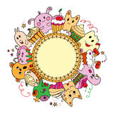 Circle card with cakes and animals. Royalty Free Stock Photo
