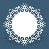 Circle card with cutout lace border pattern. Circle doily with lace border pattern, cutout paper ornament, swirly round decoration for laser cutting or wood vector illustration