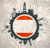 Circle with cargo port and travel relative silhouettes. Antwerp flag. Stock Photography
