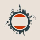 Circle with cargo port and travel relative silhouettes. Antwerp flag.