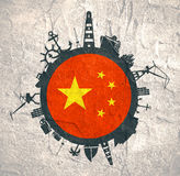 Circle with cargo port and travel relative silhouettes. China flag. Stock Image