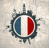 Circle with cargo port and travel relative silhouettes. France flag. Stock Photo