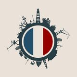 Circle with cargo port and travel relative silhouettes. France flag. Circle with sea shipping and travel relative silhouettes. Vector illustration. Objects Stock Photos