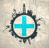Circle with cargo port and travel relative silhouettes. Marseille flag. Royalty Free Stock Photo