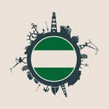 Circle with cargo port and travel relative silhouettes. Rotterdam flag.