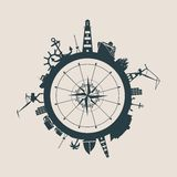Circle with cargo port and travel relative silhouettes. Royalty Free Stock Photo