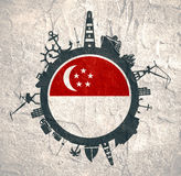 Circle with cargo port and travel relative silhouettes. Singapore flag. Royalty Free Stock Photo
