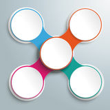 Circle Chain Colored Cross Infographic PiAd. Infographic design with colored and white circles on the grey background. Eps 10 file Vector Illustration