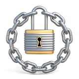 Circle chain with lock 3D. Render illustration isolated on white background Royalty Free Stock Images