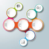 Circle Chain 3 Options Attachment. Infographic design with colored and white circles on the grey background. Eps 10  file Royalty Free Stock Images
