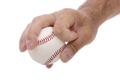 Circle changeup grip. Demonstrating the circle changeup baseball pitching grip Stock Photo