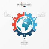Circle chart infographic template with globe 3 options Royalty Free Stock Images