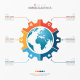 Circle chart infographic template with globe 6 options Royalty Free Stock Photos