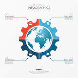 Circle chart infographic template with globe 4 options Royalty Free Stock Photos