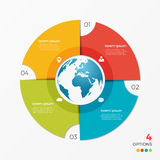 Circle chart infographic template with globe 4 options Royalty Free Stock Photo
