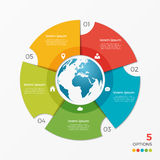 Circle chart infographic template with globe 5 options Stock Image