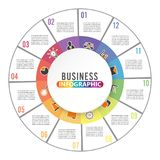 Circle chart infographic template with 12 options for presentations, advertising, layouts, annual reports. Circle chart infographics template with 12 options for Royalty Free Stock Images