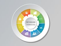 Circle chart infographic template options for presentations. Advertising, layouts, annual reports. Vector illustration. - Vector vector illustration
