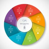 Circle chart for infographics. Vector diagram with 8 options. Royalty Free Stock Photos