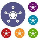 Circle chart with numbers icons set. In flat circle reb, blue and green color for web Royalty Free Stock Photo