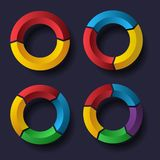 Circle chart set. Set of four circle charts on dark background. eps10 Stock Photos