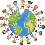 Circle of children around a globe Royalty Free Stock Image